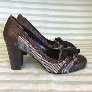 Franco Sarto Brown Leather Plaid and Chunky Heel
